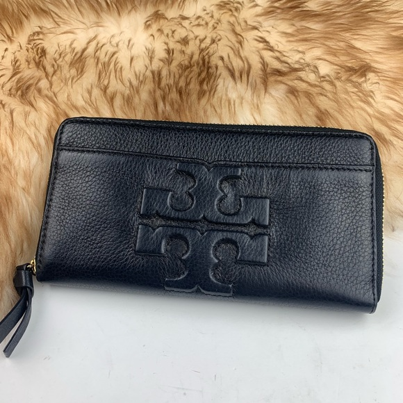 Tory Burch Handbags - Tory Burch Thea Black Leather Wallet Large Logo